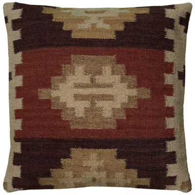 "Rizzy Home Southwestern Border Square Throw Pillow- 18"" x 18"""