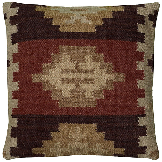 "Rizzy Home Southwestern Border Square Throw Pillow 18""x18"""