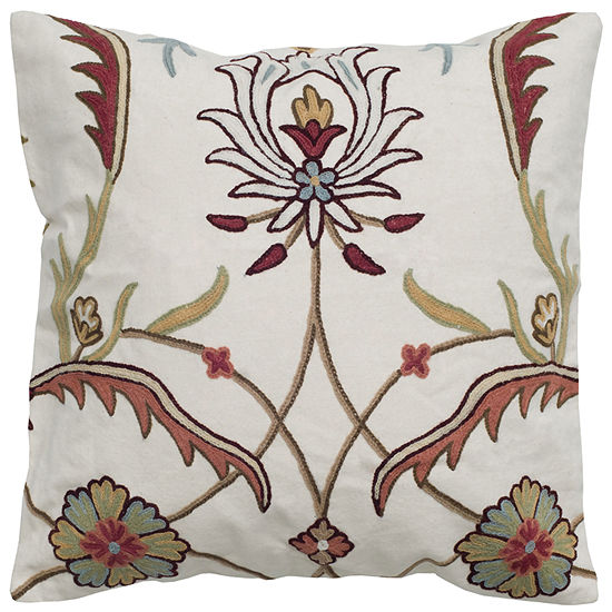 """Rizzy Home Crewel Floral With Medallion Square Throw Pillow - 20"""" x 20"""""""
