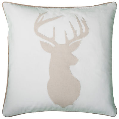 """Rizzy Home Deer Head Square Throw Pillow - 20"""" x 20"""""""
