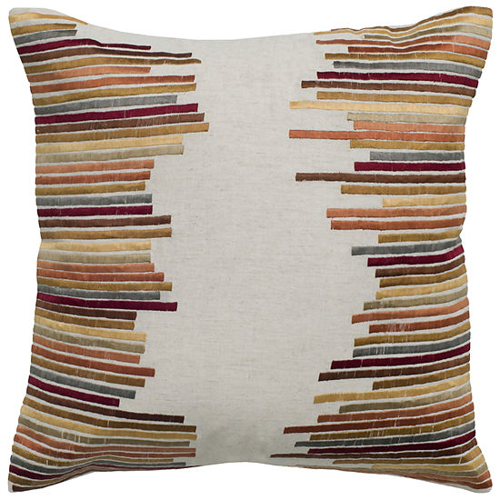 "Rizzy Home Cotton and Flax Disconnected Stripe Square Throw Pillow - 18"" x 18"""