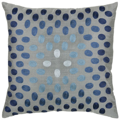 "Rizzy Home Embroidered Dots Square Throw Pillow -18"" x 18"""