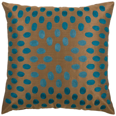 """Rizzy Home Embroidered Dots Square Throw Pillow -18"""" x 18"""""""