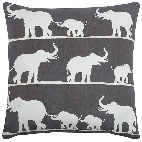 "Rizzy Home Elephants Square Throw Pillow - 20"" x 20"""