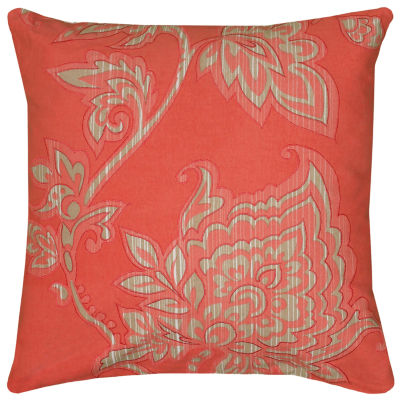 """Rizzy Home Embroidered Floral Vine Square Throw Pillow - 18"""" x 18"""""""