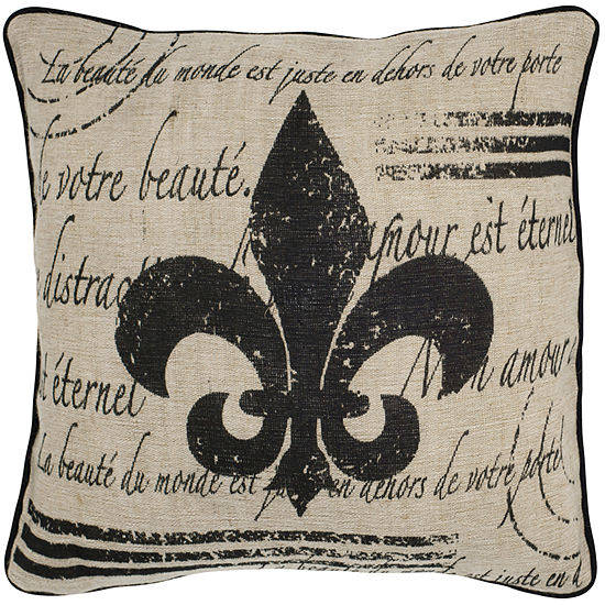 "Rizzy Home Fleur De Lis With Script Square Throw Pillow - 18"" x 18"""