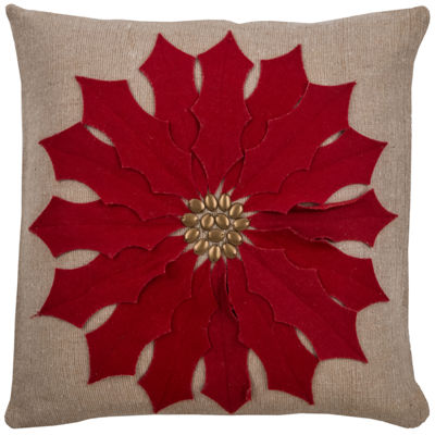 "Rizzy Home Poinsettia Square Throw Pillow - 18"" x18"""