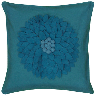 "Rizzy Home Flower Dimensional Square Throw Pillow- 18"" x 18"""