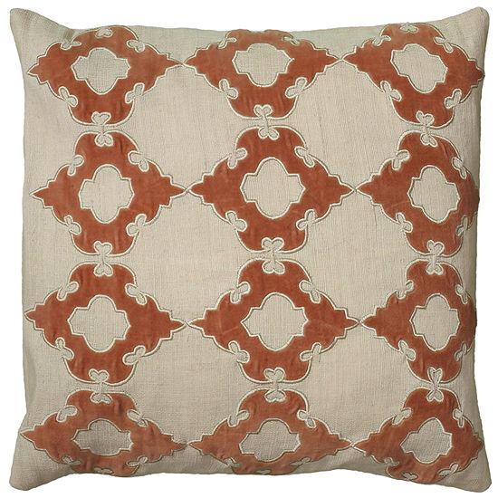 "Rizzy Home Geometric Applique Square Throw Pillow- 18"" x 18"""