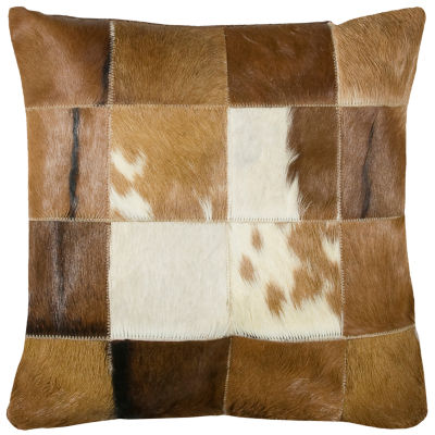 """Rizzy Home Hair On Hide Squares Square Throw Pillow - 18"""" x 18"""""""