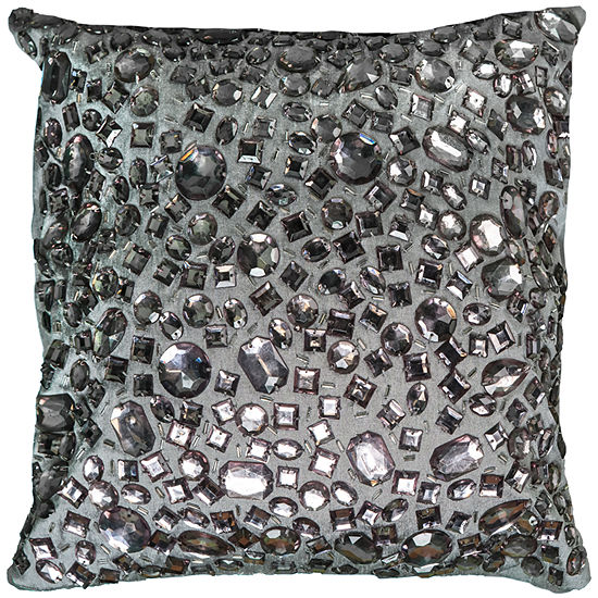 """Rizzy Home Hand Jeweled All Over Square Throw Pillow - 12"""" x 12"""""""