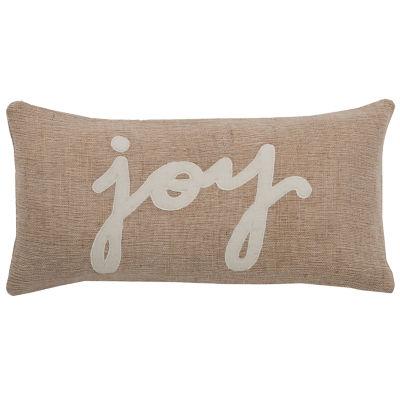 "Rizzy Home Joy Word Rectangular Throw Pillow - 11""x 21"""