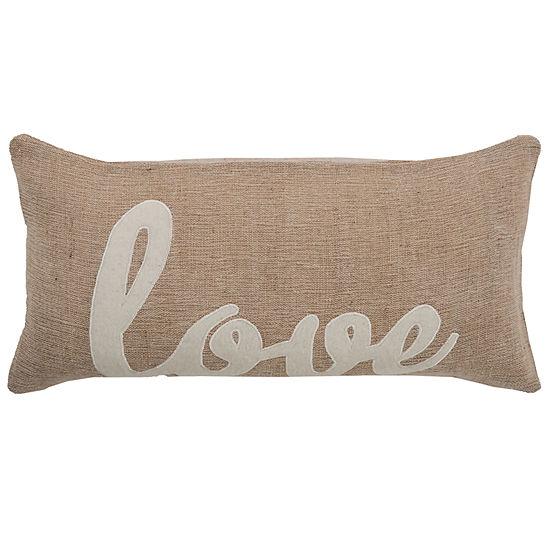 "Rizzy Home Love Word Rectangular Throw Pillow - 11"" x 21"""