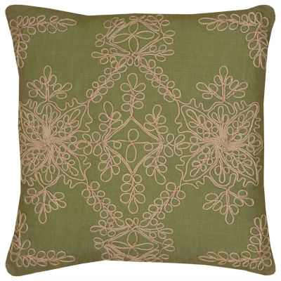 """Rizzy Home Jute Cord Embroidery Square Throw Pillow - 18"""" x 18"""""""