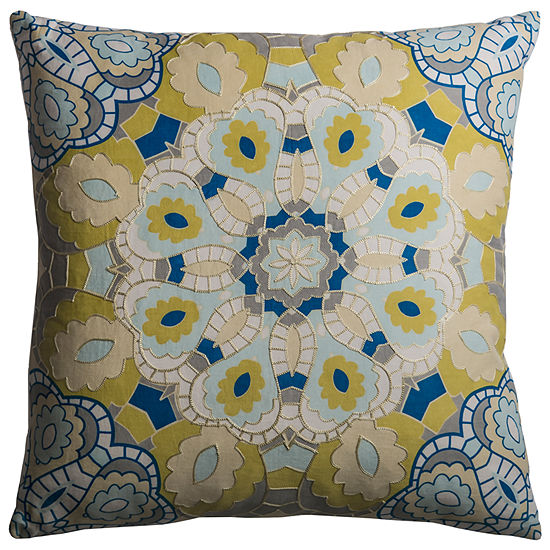 "Rizzy Home Embroidered Medallion Square Throw Pillow - 20"" x 20"""