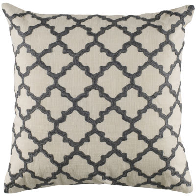 """Rizzy Home Moroccan Tile Embroidered Square ThrowPillow - 18"""" x 18"""""""