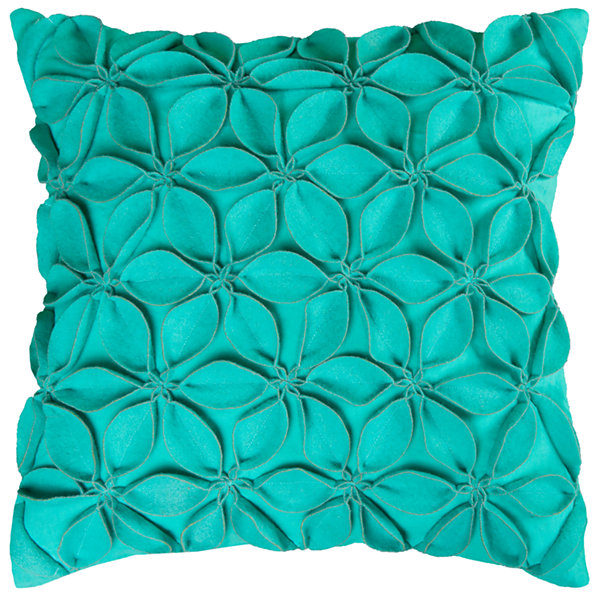 "Rizzy Home Petals Floral Shape Square Throw Pillow- 18"" x 18"""