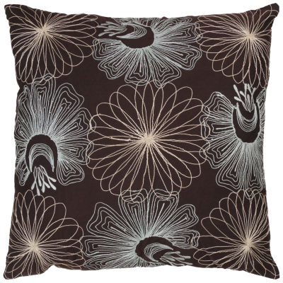 """Rizzy Home Retro Floral Square Throw Pillow - 18""""x 18"""""""