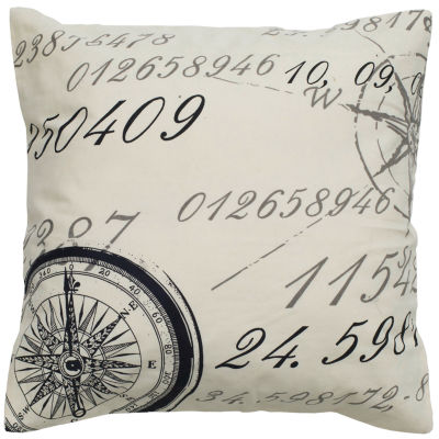 "Rizzy Home Script With Compass Square Throw Pillow- 20"" x 20"""