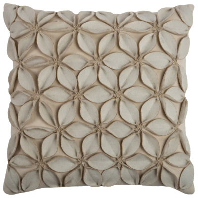 """Rizzy Home Leaves Applique Square Throw Pillow - 18"""" x 18"""""""