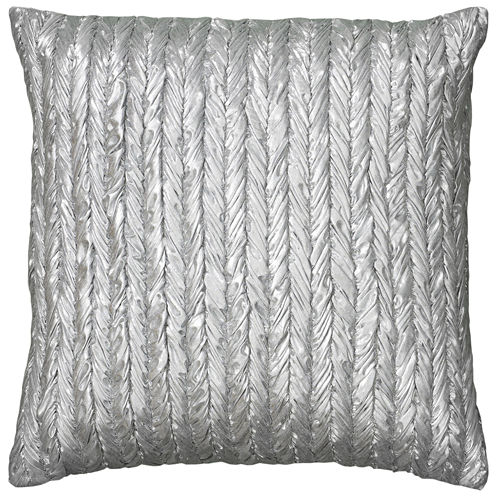 Rizzy Home Stripe- Braided Appearance Metallic Square Throw Pillow