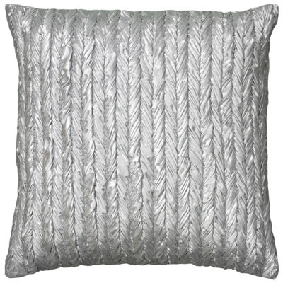 "Rizzy Home Stripe- Braided Appearance Metallic Square Throw Pillow - 18"" x 18"""