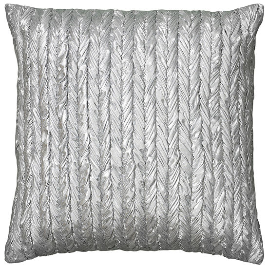 """Rizzy Home Stripe- Braided Appearance Metallic Square Throw Pillow - 18"""" x 18"""""""