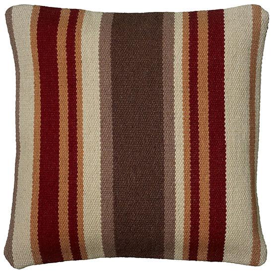 """Rizzy Home Southwestern Stripe Square Throw Pillow 18""""x18"""""""