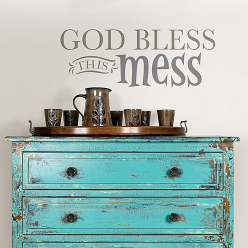 Brewster Wall God Bless This Mess Wall Quote Wall Decal