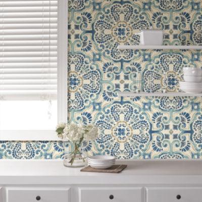 Brewster Wall Blue Florentine Tile Peel & Stick Wallpa Wall Decal