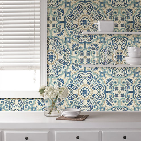 Brewster Wall Blue Florentine Tile Peel & Stick Wallpa Wall Decal
