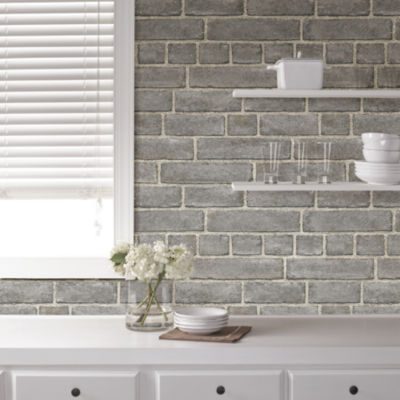 Brewster Wall Grey Brick Facade Peel and Stick Wallpaper Wall Decal