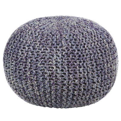 Chandra Textured Round Cotton Cord Pouf Ottoman