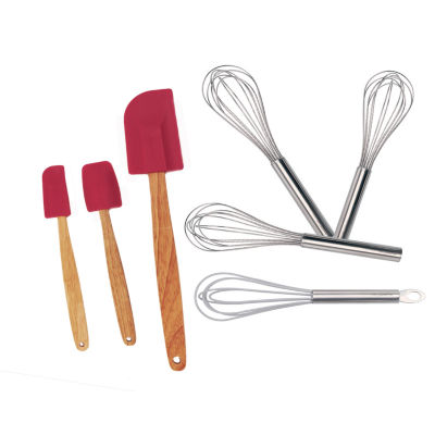 "EarthChef Bake Set 7pc (Silicone Whisk 9"", Whisk Set 3pc, Red Spatula Set 3pc)"