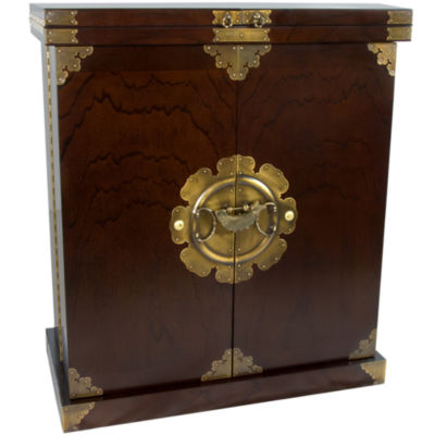 Oriental Furniture Korean Antique Style Wine Cabinet