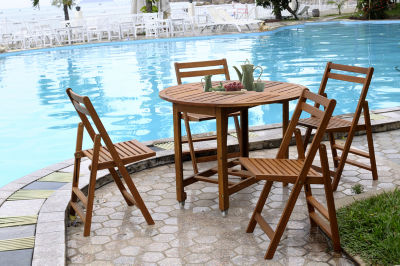 Northbeam Acacia Indoor/Outdoor Folding Dining Chairs - Set of 4