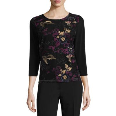 Liz Claiborne 3/4 Sleeve Scoop Neck Floral Top