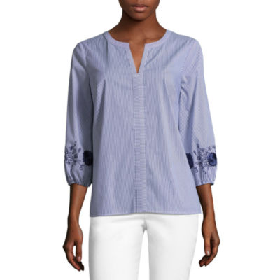 Liz Claiborne 3/4 Embroidered Sleeve Stripe Blouse