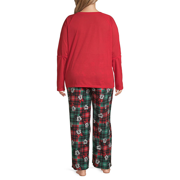 Disney Mickey Mouse Family Women's Plus Graphic Tee 2 Piece Pajama Set