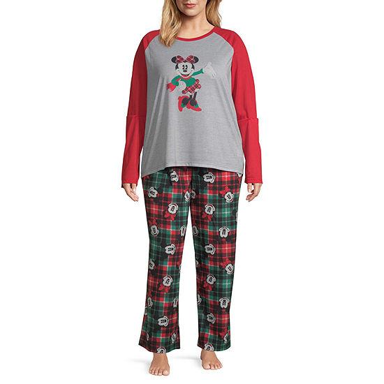 Disney Mickey Mouse Family Women's Plus Graphic Tee 2 Piece Pajama Set