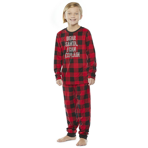 North Pole Trading Co. Buffalo Plaid Little & Big Unisex 2-pc. Christmas Pajama Set