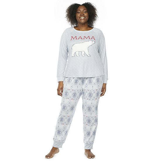 North Pole Trading Co. Polar Bear Womens-Plus Long Sleeve Pant Pajama Set 2-pc.