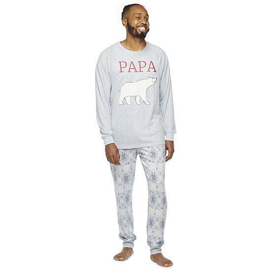 North Pole Trading Co. Polar Bear Mens Long Sleeve Pant Pajama Set 2-pc.