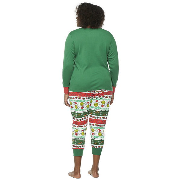 Dr. Seuss Grinch Holiday Family Womens-Plus Long Sleeve Pant Pajama Set 2-pc.