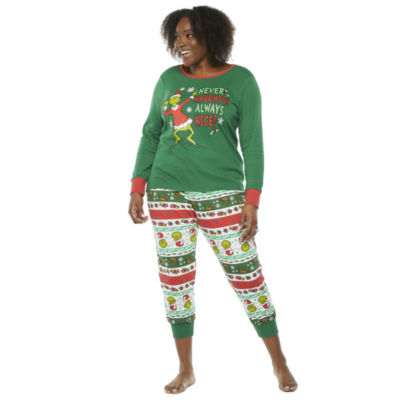 Dr. Seuss Grinch Holiday Family Womens-Plus Long Sleeve Pant Pajama Set 2-pc.