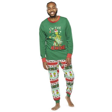 Dr. Seuss Grinch Holiday Family Mens Long Sleeve Pant Pajama Set 2-pc., X-large , Green