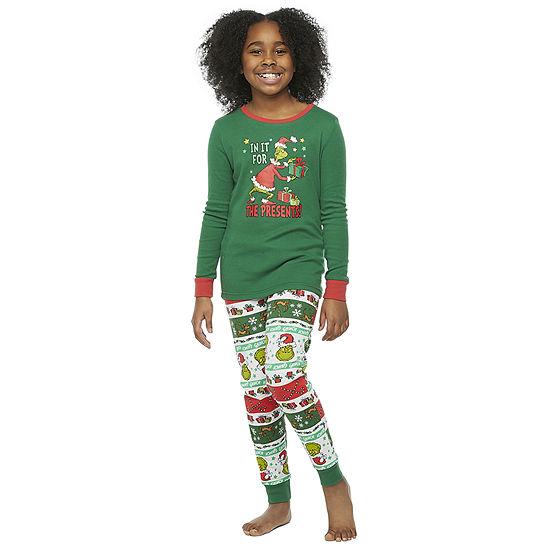 Dr. Seuss Grinch Holiday Family Kids Little & Big Unisex 2-pc. Grinch Christmas Pajama Set
