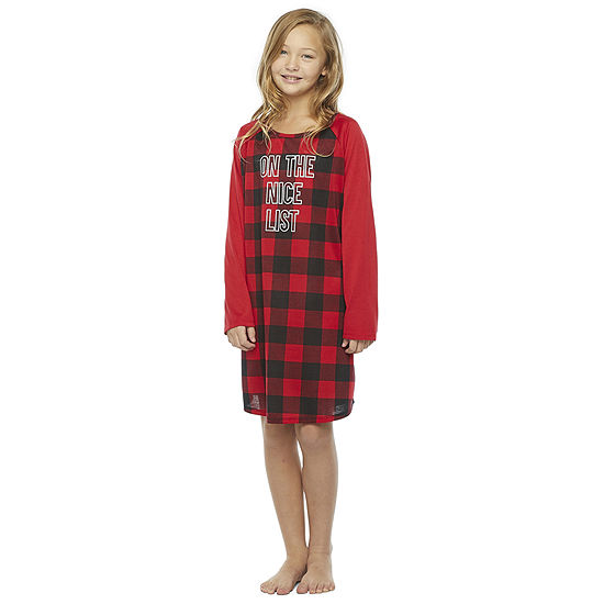 North Pole Trading Co. Buffalo Plaid Girls-Plus Long Sleeve Nightshirt