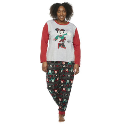Disney Collection Womens Plus Long Sleeve Pant Pajama Set 2-pc.