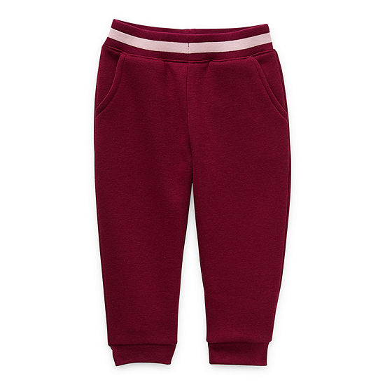 Okie Dokie Fleece Baby Girls Cinched Pull-On Pants